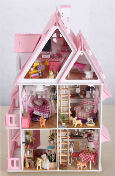 Free Shipping DIY Handmade 3D Wooden Dollhouse Furniture Sets Large Building Model Miniatures Furniture Creative Special Gift