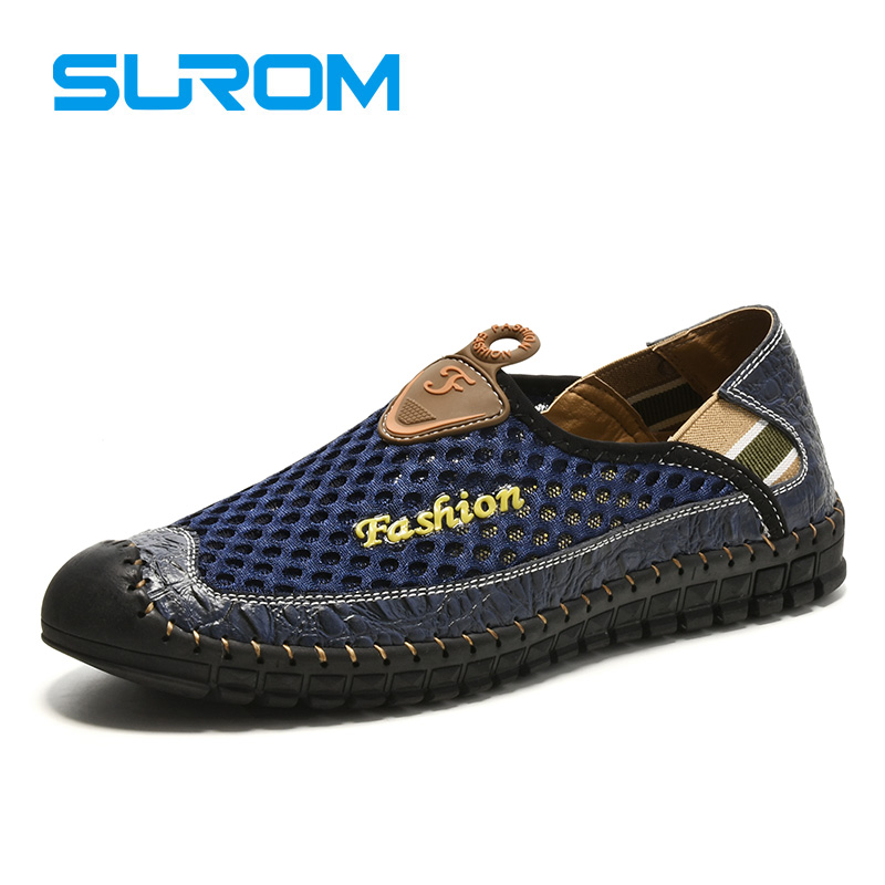 SUROM 2017 Summer Breathable Casual Shoes For Men Air Mesh Soft Hand Leather Casual Shoes Male Sport Breathable Shoes Men Flats(China (Mainland))