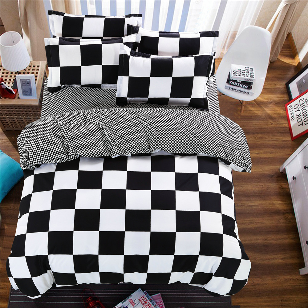 Black and white striped bed sheets - Plaid Stripes Bedding Bed Sets Queen King Twin Kids 4 5 Pcs Black And White