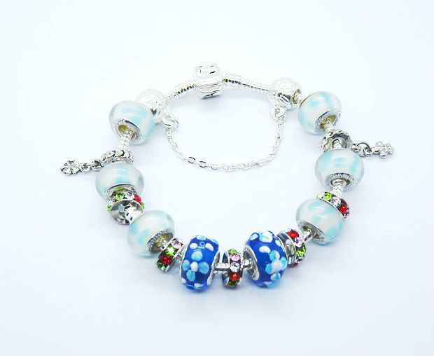 wholesale free shipping silver glass bead charm