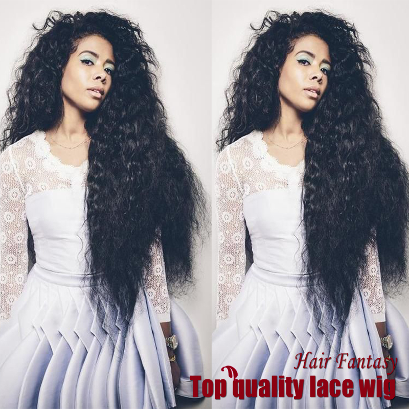 Hot Selling 14-28 180% Density Fiber Kinky Curly Wigs Synthetic Lace Front Wigs Heat Resistant Synthetic Hair Wigs<br><br>Aliexpress