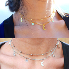 2015 Christmas fashion simple gold and silver plated double chain turquoise beads sequins necklace for women best gift  BNJY502(China (Mainland))