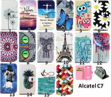 Flip Wallet PUPainting Wallet  Leather Case With Card Money Slots&Stand For Alcatel One Touch pop C7 7040 7040D 7041D Cover(China (Mainland))