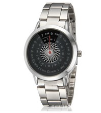 2014 Fashion Casual Watch Round Half shade Dail Spin Rotating Disc Turn Dial Watch with Stainless