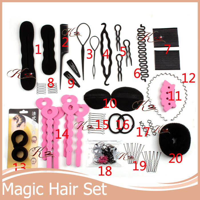 Lady Hair Styling Tools Base Accessory Maker Pads Hairpins Clip Insert Tool Hair Bun Donut Hair Styling Set(China (Mainland))