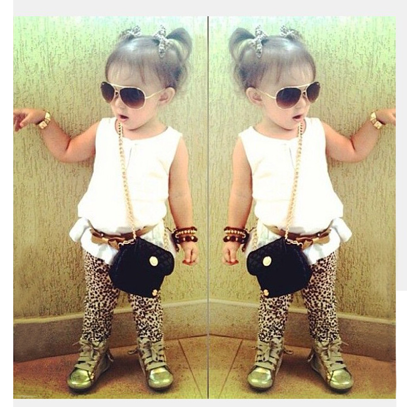 2016 new girls fashion white t-shirt+Leopard grain slacks+belt set 2 pic Little Girl Summer Sets Children Clothes suits for Kids(China (Mainland))