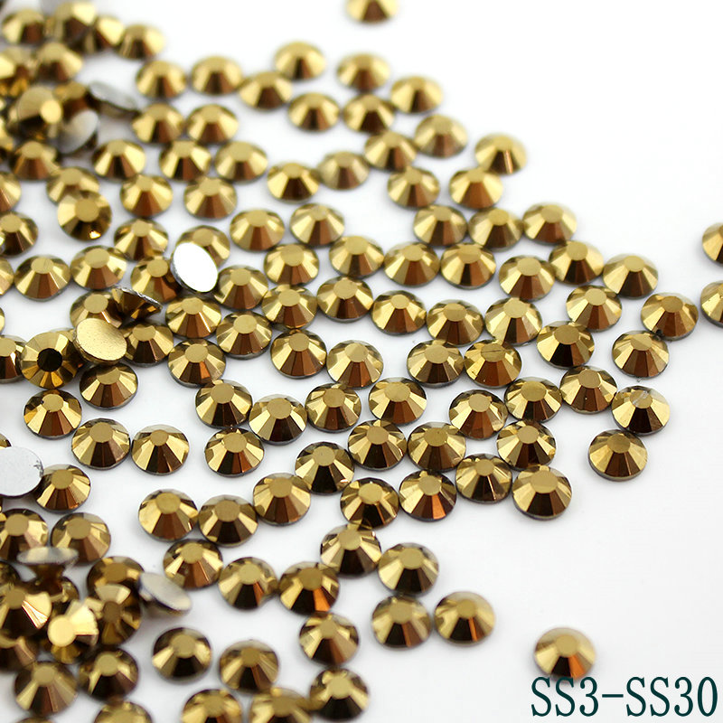 Gold Hematite 3D Nail Art Rhinestones Flatback Non Hotfix For Nails Decor SS3-SS30 (288-1440pcs) For Garment Accessories(China (Mainland))