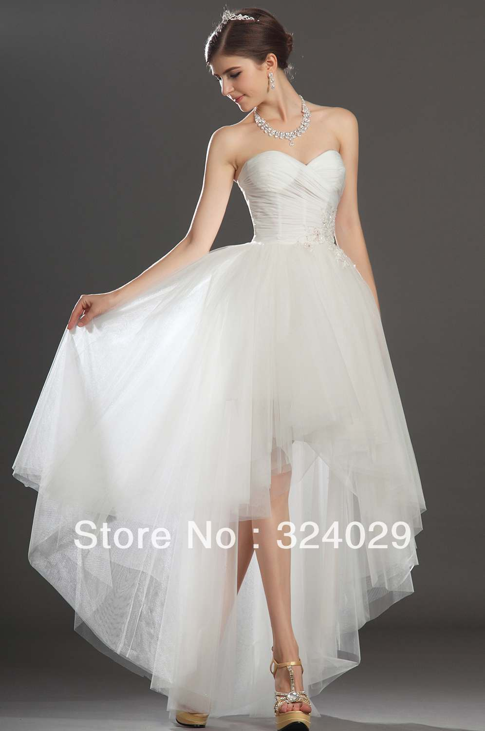 freeshipping fantastic sweetheart high low white tulle