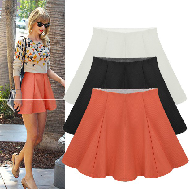 3 Color 2015 Women New Fashion Spring and Summer Knitted Short Skirts OL Ladies High Waist Solid Elastic Umbrella Skirt(China (Mainland))