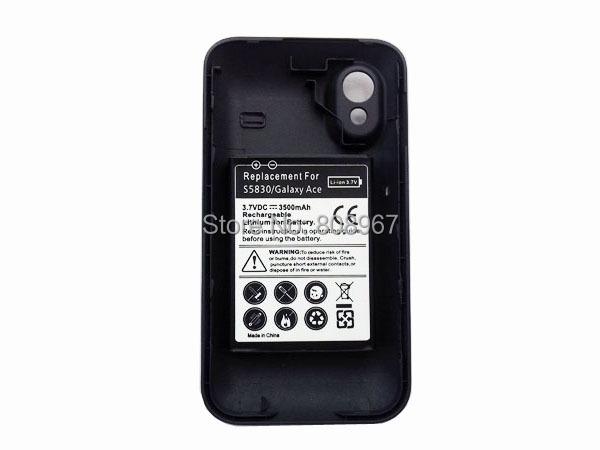High capacity 3.7V 3500mAh extended battery for Samsung Galaxy Ace S5830 5pcs Free shipping(China (Mainland))