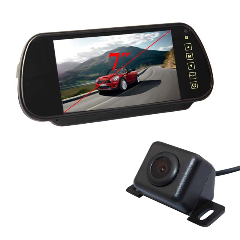 7 Inch Tft Lcd Mirror Monitor + 170 Degree Parking Backup Camera Car Rear View Kit Reversing Free Shipping(China (Mainland))