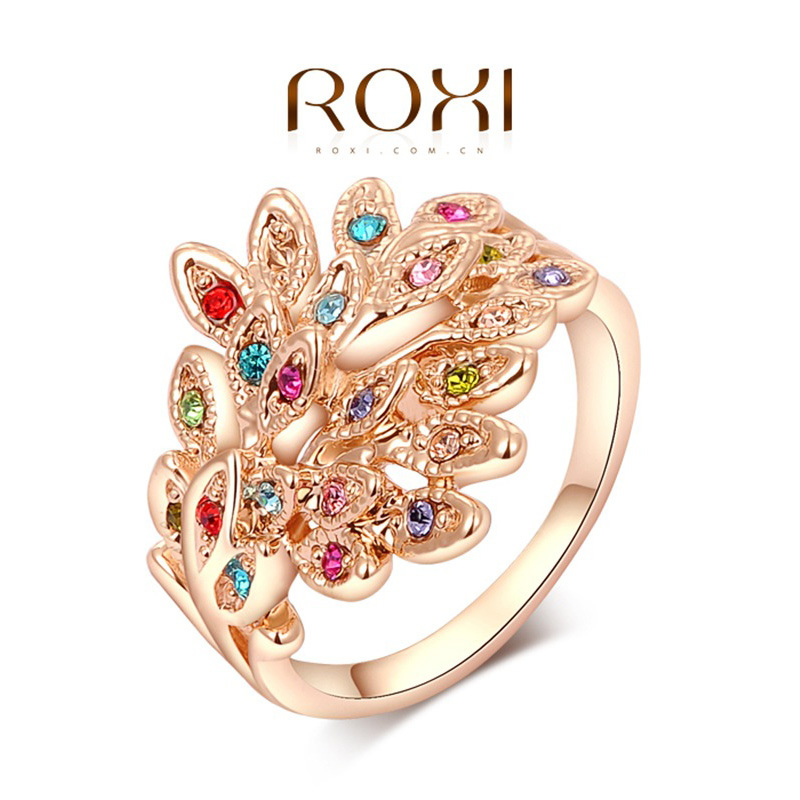 ROXI Exquisyte rose gold rings women genuine Austrian crystals, 100% hand made fashion jewelry - Happy to buy store