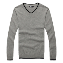 Brand New Autumn Men Jumpers Pullover Sweater Casual Wools Men's Fashion Sweaters Embroidered V-Neck Slim Cashmere-Free Shipping(China (Mainland))