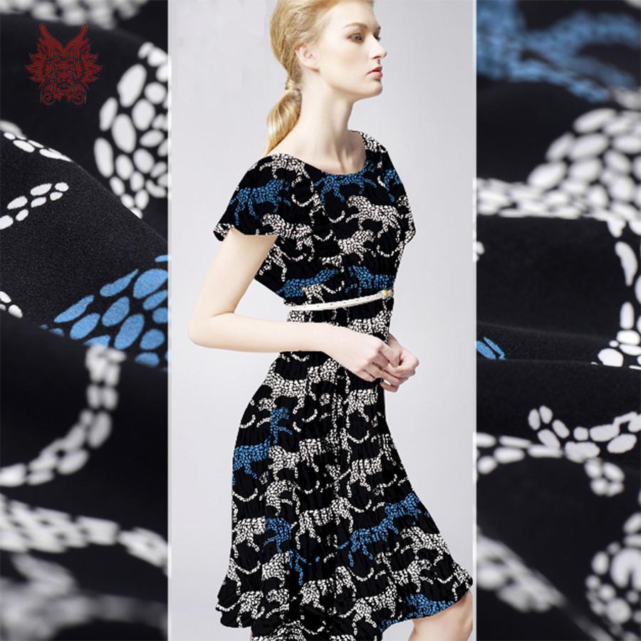 Designer sexy animal print 100% silk fabric for dress shirts 16mm crepe de chine silk cloth tejido tela free shipping SP3702(China (Mainland))
