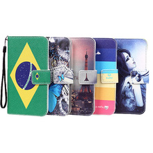 For Mpie Z6 Case ,Fashion PU Stand Wallet Card Slot Leather Cover Cartoon Painting + Lanyard gift