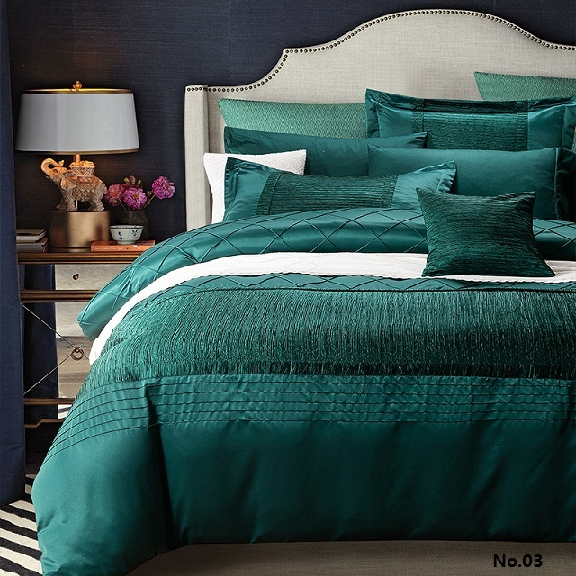 Luxury designer bedding set quilt duvet cover blue green for Designer bed pics