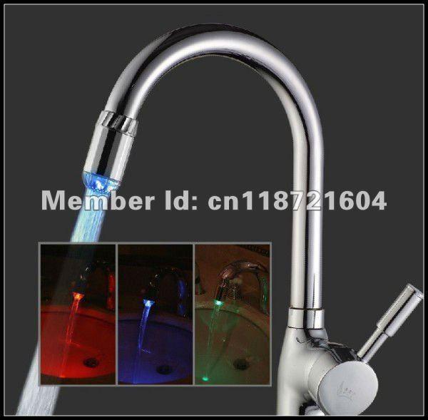 7 color flash change LED Faucet,self-powered LED light shower for kitchen,bathroom 50 piece/lot wholesale