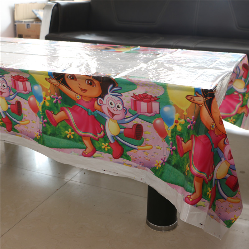 lovely dora the explorer disposable plastic tablecover 108*180cm tablecloth for kids happy birthday party decoration supplies(China (Mainland))
