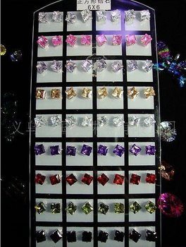 Wholesale - 6mm Copper square Color CZ earring stud earrings cubic zirconia 360pair /lot free shipping