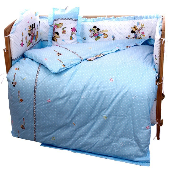 Promotion! 10PCS Mickey Mouse Baby crib bedding set 100% cotton bedclothes bed decoration (bumpers+matress+pillow+duvet)<br><br>Aliexpress