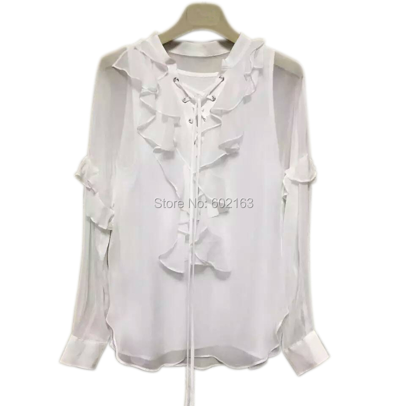 White Chiffon Blouse With Ruffled Collar For Ladies 2016 Spring Long Sleeve Brand Elegant Women Tops Shirts and Blouses