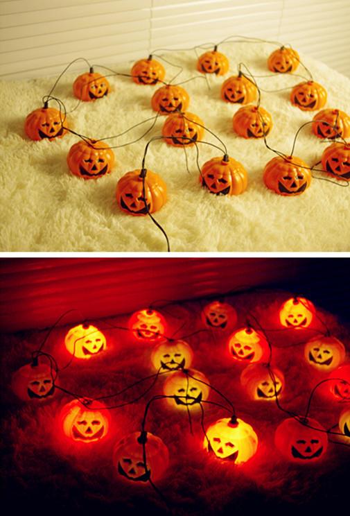 16 LEDs Pumpkin LED String Light Halloween Props Haunted House Supplies Bar Decoration Fairy lights Festival Lamp(China (Mainland))