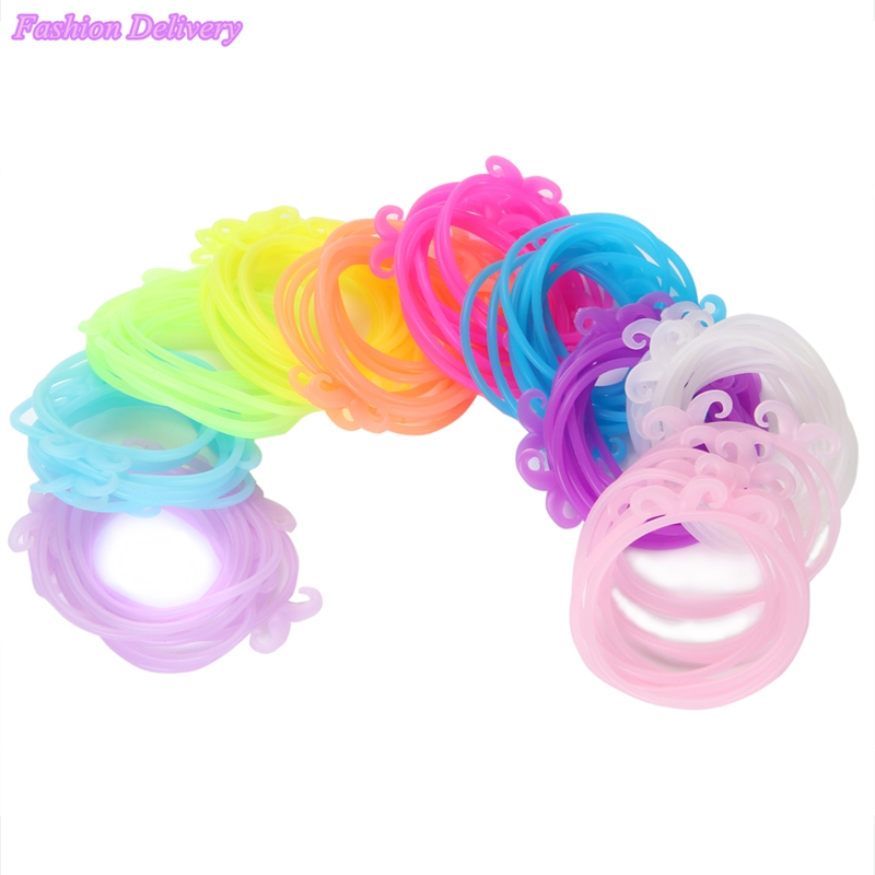 50pcs/Lot Mix Color Hair Rope Beard Fluorescent Color Candy Color Elastic Hair Bands For Women Girl Hair Rings Free Shipping(China (Mainland))