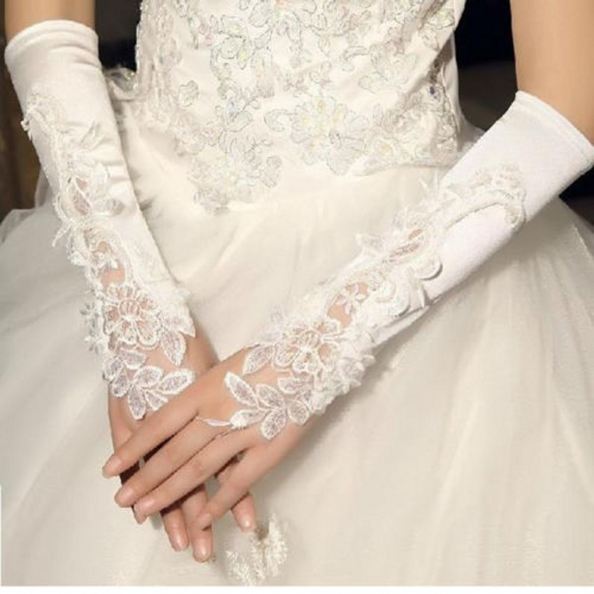 New Arrival White And Ivory Lace Wedding Bridal Gloves 2016 Beaded Sequined Fingerless High Quality Gloves