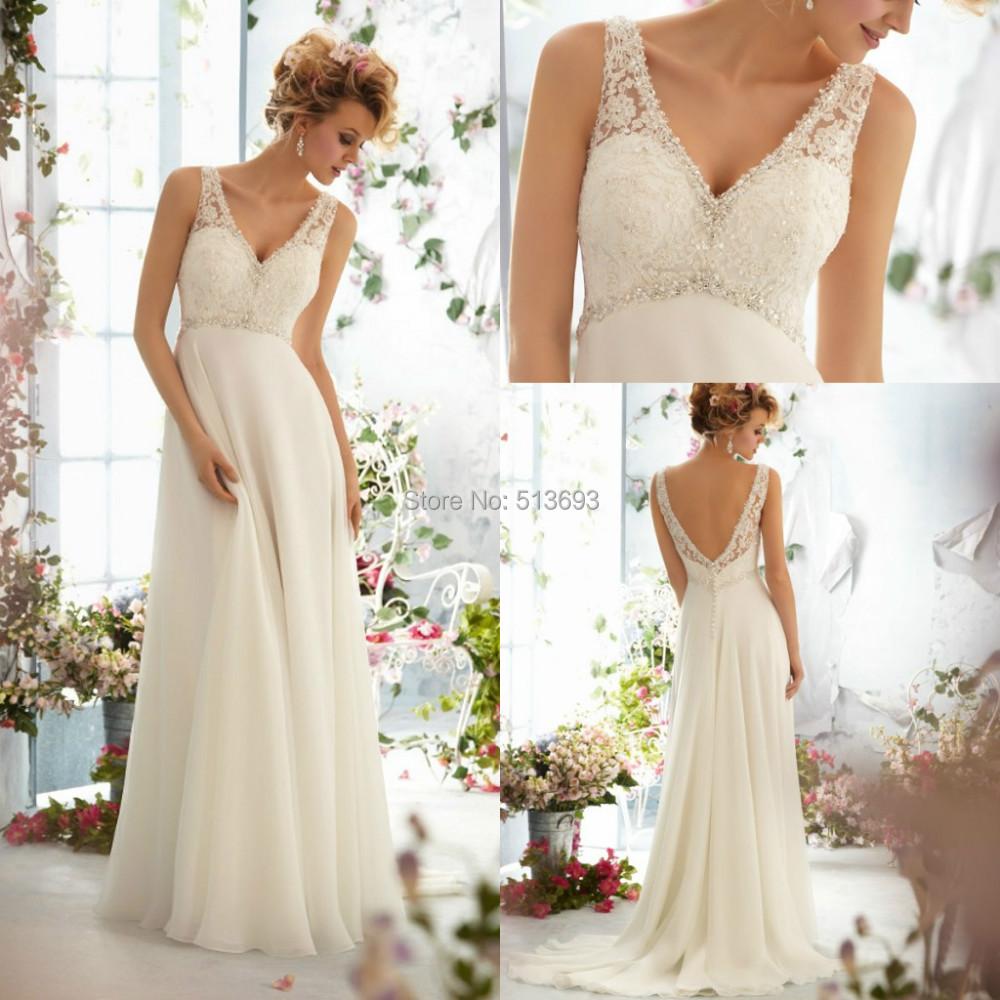 Top online v neck sleeveless with crystal beading empire for Empire waist beach wedding dress