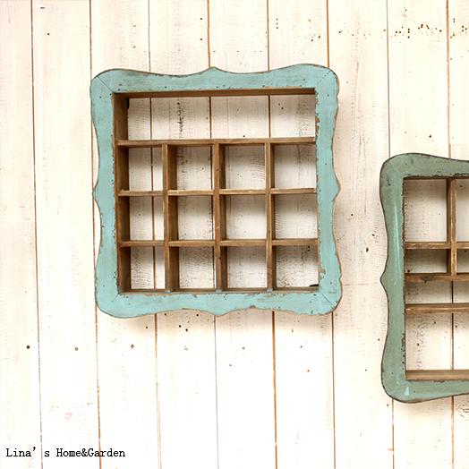Square Quaint Distressed Blue Handmade Small Vintage Decorative Wood Shelf(China (Mainland))