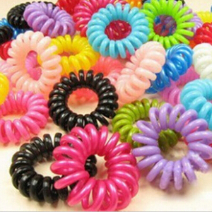 10pcs/lot Telephone Cord Elastic Ponytail Holders Hair Ring Scrunchies For Girl Rubber Band Tie Free Shipping(China (Mainland))
