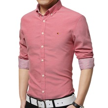 High Quality 2016 New Korean Style Fashion Pure Color Basic Shirt Male Slim Fit Solid Long Sleeve Men Shirts 7Colors M-4XL(China (Mainland))