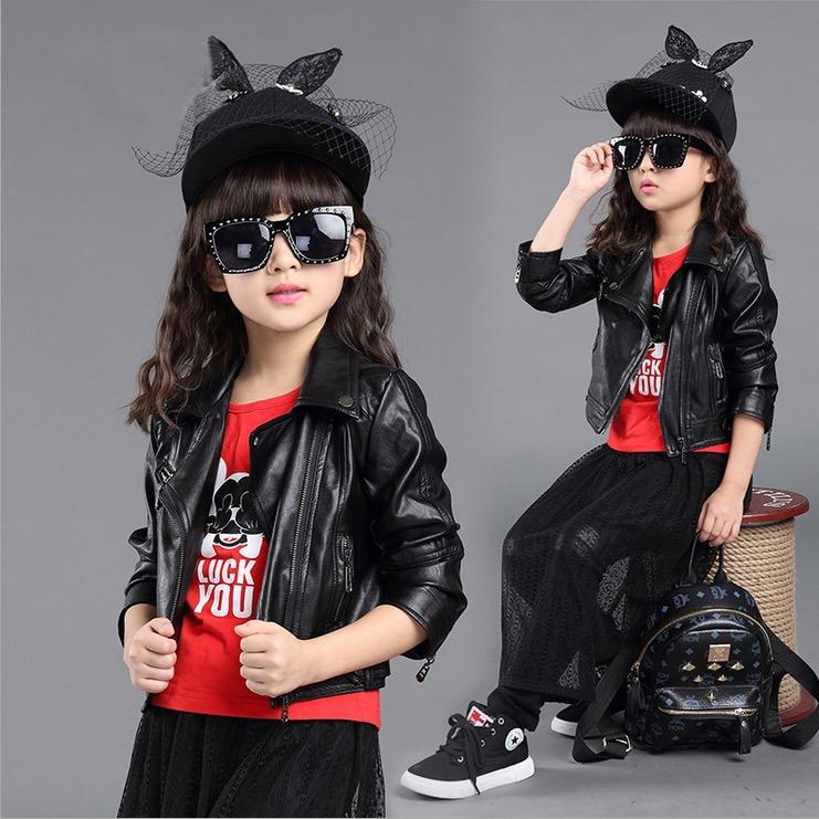 girls jackets cardigan girl teenage fashion faux leather high quality 2016 autumn fall children outwear street wear age 12(China (Mainland))