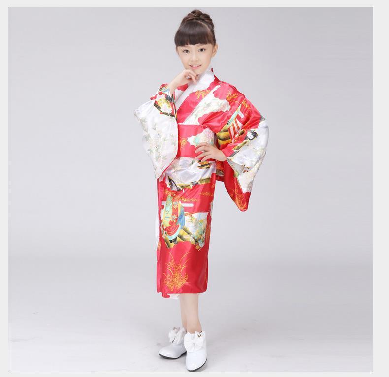 Japanese Baby Girl Kimono With Obi Traditional Yukata Performance Dance Costume Novelty Kid Photo Clothing One Size