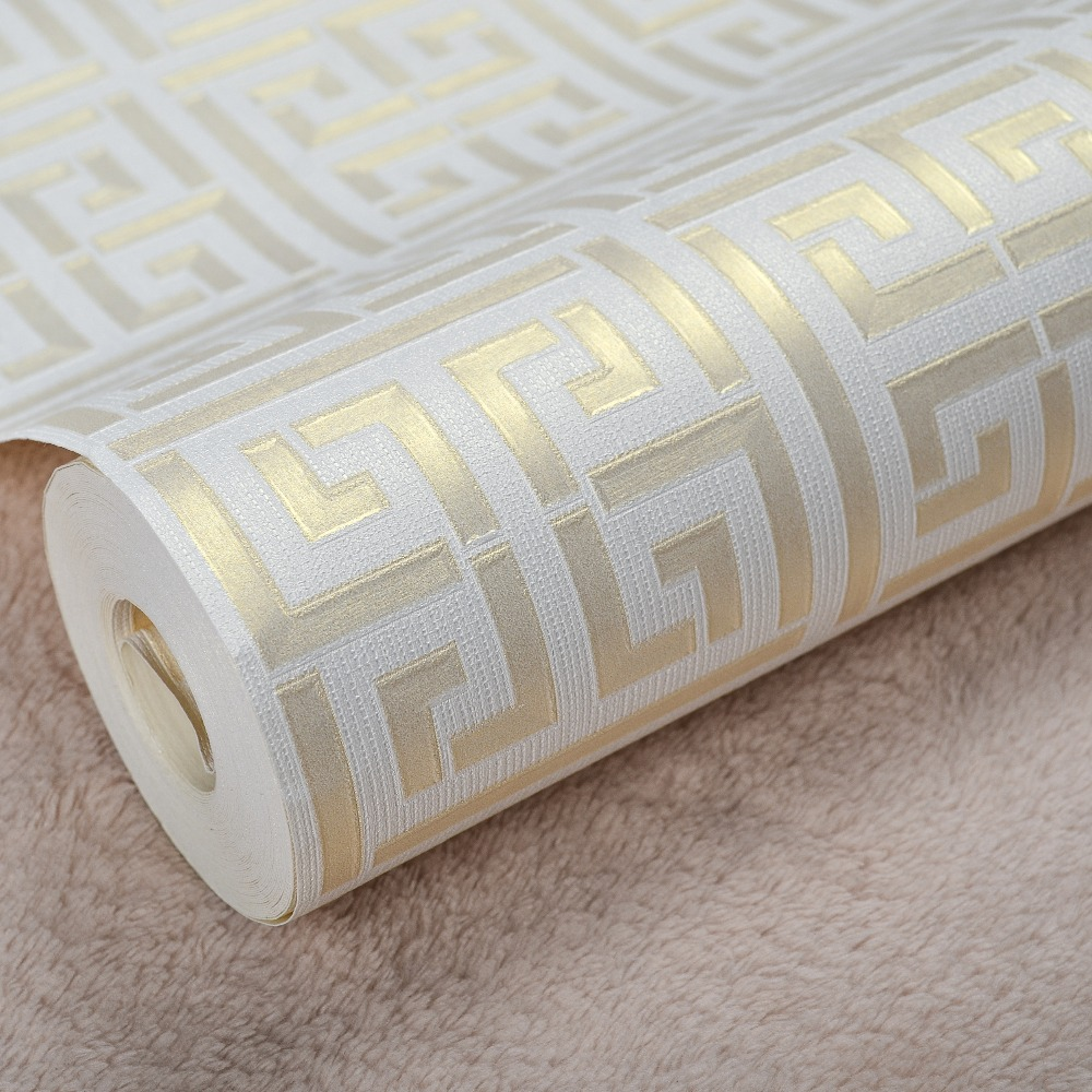 Contemporary Modern Geometric Wallpaper Neutral Greek Key