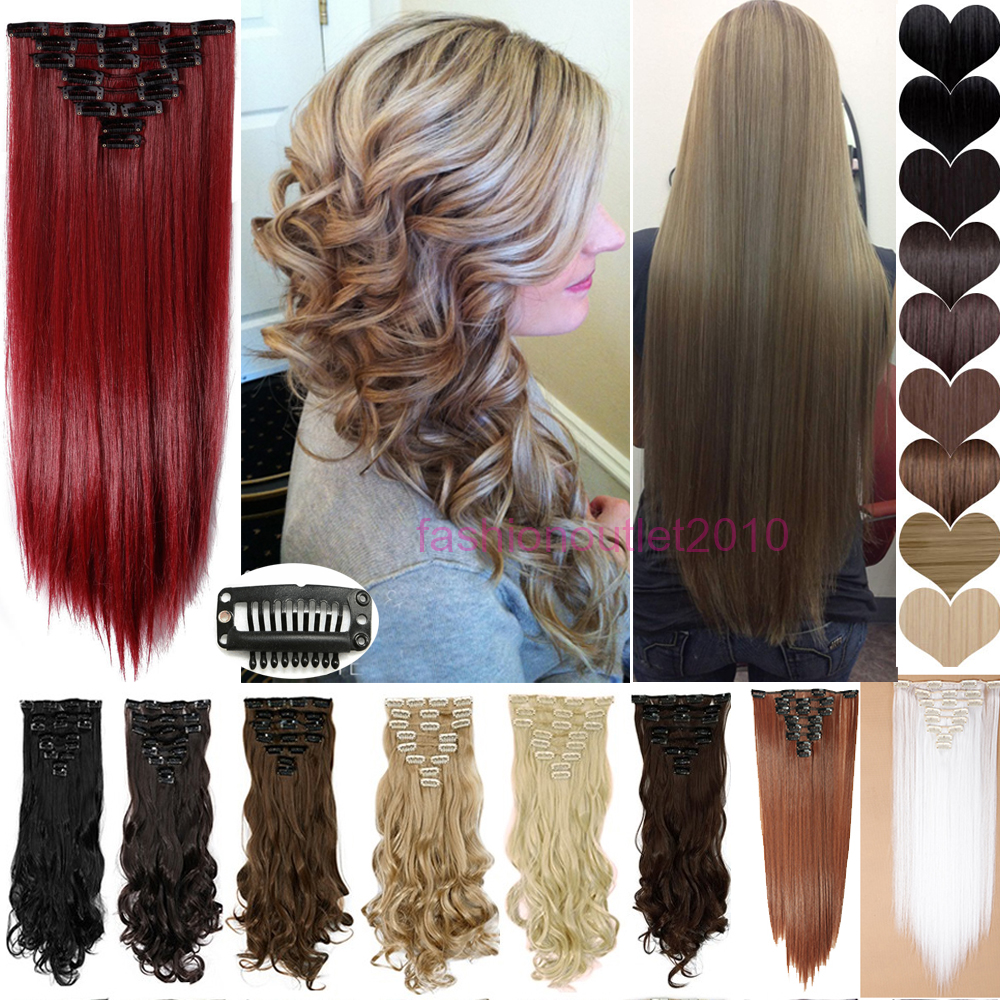 """Гаджет  US Local Stock 8PCS/SET Clip In On Haie Extensions Full Head 18Clips Straight 26"""" 66cm Sliky Natural Black Brown Blue Blonde Red None Волосы и аксессуары"""