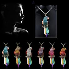 Free Shipping Colorful 6pcs Lovely Parrot Gorgeous Rhinestone Necklace Friend Gift OPP+card packing Wholesale#W27848Y66(China (Mainland))