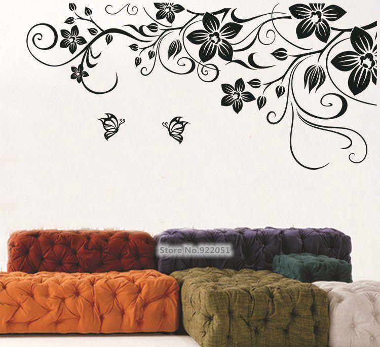 Jm7107 Free Shipping Large Size Black Vinyl Butterfly Flowers Vine Art Wall Sticker Living Room