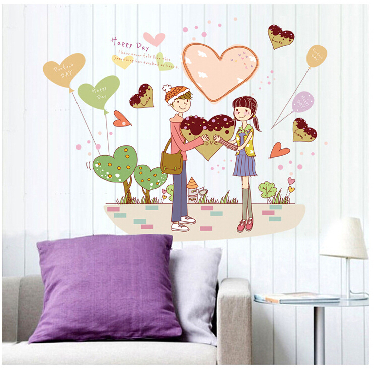 Aliexpress Buy MJ7011 Wedding Accessory Couple Wall Sticker Removable Home Decors Decal