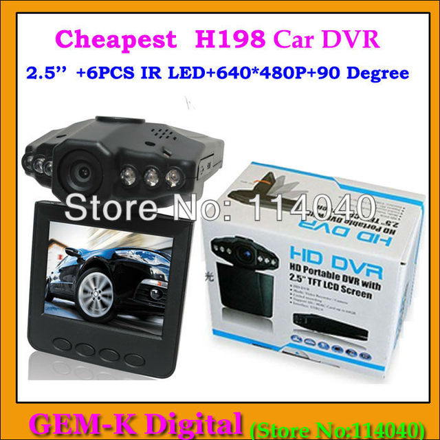 "H198 Car DVR camera Best factory price 2.5"" TFT Screen auto camera/vehicle car black box with 6pcs IR LED night vision camera"