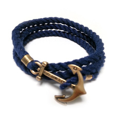 Fashion jewelry for women 2015 Beauty anchor Navy male female couple hand woven Bracelet pure cotton rope with a letter(China (Mainland))