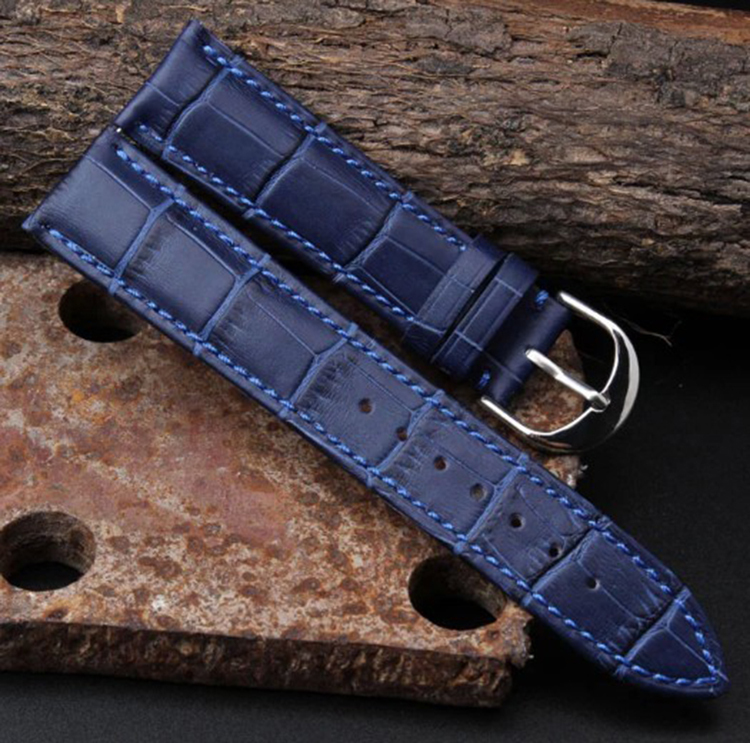 New Arrival12mm 14mm 16mm 18mm  20mm 22mm Leather Watch Strap Deployant Bracelet Watch Band  Blue Watchband For luxury Watch men