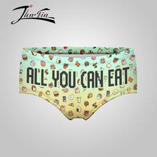 all you can eat 3D Print Sexy Panties women boxer Underwear Briefs calcinha de renda