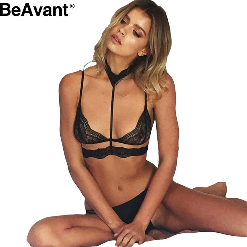 BeAvant Sexy halter black lace bra Hollow out backless summer beach bralette top Women strappy bra Elegant intimates brassiere(China (Mainland))