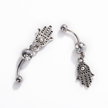 Palm Belly Button Ring 2016 New Arrival Stainless Steel Piercing Body Jewelry Vintage Unique Button Navel Piercing Belly Ring