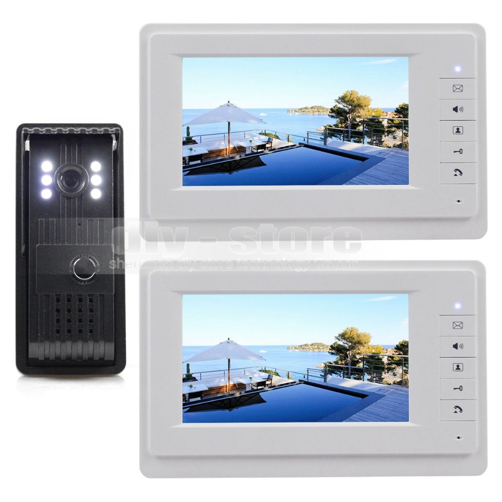 Aluminum Alloy CCD Camera 7 inch TFT Color LCD Display Video Door Phone Intercom Doorbell 1 Outdoor Camera 2 Indoor Monitor<br>