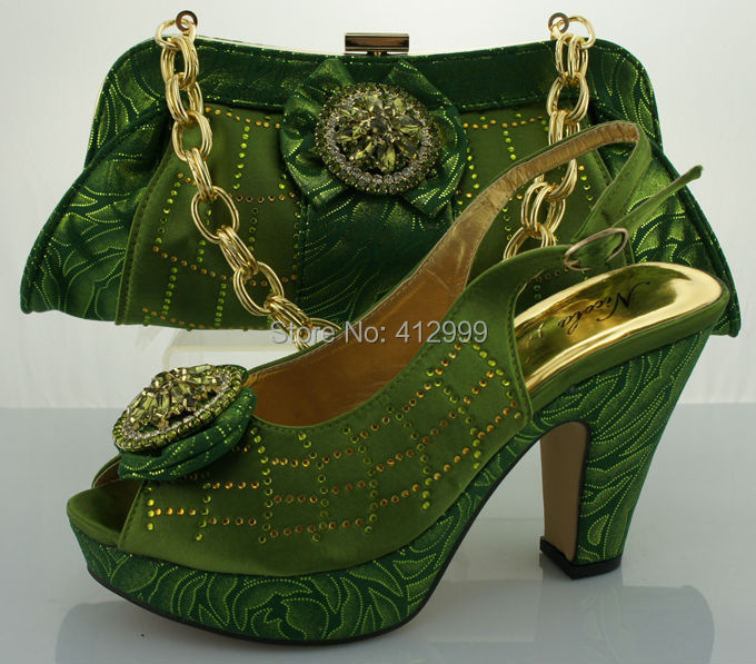 Design No.ME0087 green ! top sale Italian high heels shoes and matching bags ! good looking ladies shoe and bag with rhinestone!(China (Mainland))