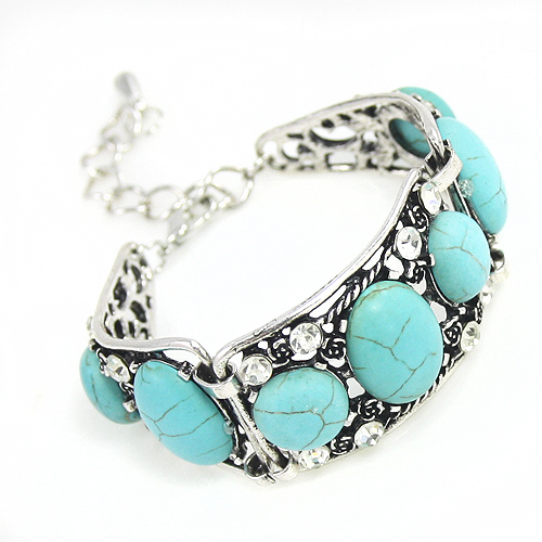 2016 Bohemian Vintage Turquoise Bracelets for Women Silver Chain Blue Bohemian Bracelet with Stones Bohemian Jewelry Gift brtj34(China (Mainland))