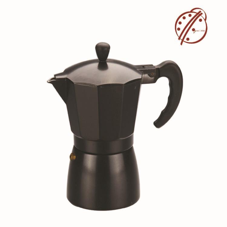 Freeshipping 350ML Coffee Pot Personalized Custom Made Black Aluminum Bialetti Coffee Mocha Pot High Quality(China (Mainland))