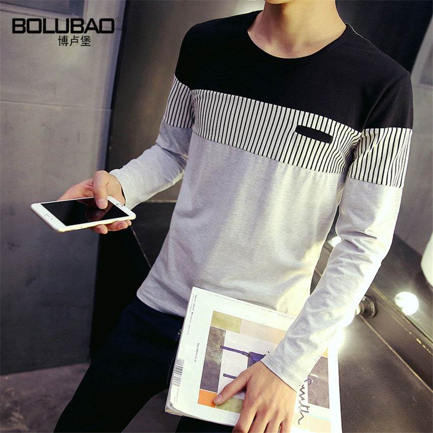 Free Shipping Fashion mens t shirts 2016 New Arrival Autumn New Spell Color Round Neck Long Sleeve Men Shirt Size M-5XL(China (Mainland))
